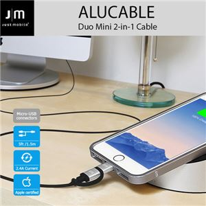 Just Mobile AluCable Duo 2-in-1 cable with Lightning & micro-USB connectors (5ft/1.5m)