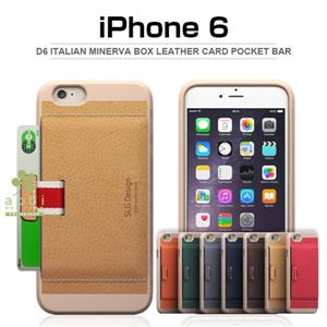 SLG Design iPhone 6 D6 Italian Minerva Box Leather Card Pocket Bar ネイビー