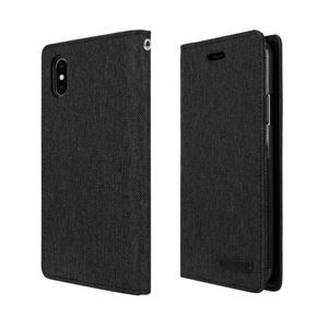 iPhone X Canvas Flip Case ブラック