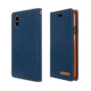 iPhone X Canvas Flip Case ネイビー