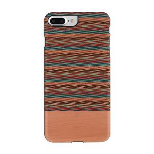 Man&Wood iPhone8Plus/7Plus 天然木ケース Browny check ブラックフレーム