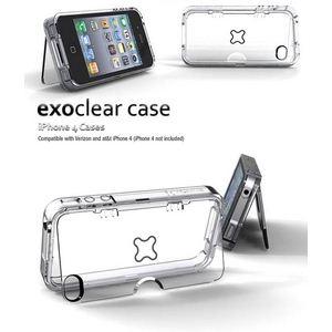 E308★ハイエンドヘッドホン対応◆iPhone4S / iPhone4 スタンド付きケース Exoclear Case 保護&スタンド機能 ●スタンド付き+騒音防止設計● Smoke Black   - 拡大画像