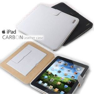 Z289iP★iPAD Carbon Leather Case●本革●*スタンド付き!!*-BLACK