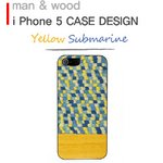 ★iPhone5★iPhone5 Man & Wood Real wood case Harmony Yellow Submarine  ホワイトフレーム