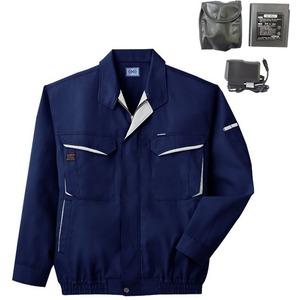 空調服 綿・ポリ混紡長袖作業着 BK-500N 【カラー:ネイビー サイズ:L】 リチウムバッテリーセット