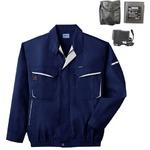 空調服 綿・ポリ混紡長袖作業着 K-500N 【カラー:ネイビー サイズ LL】 リチウムバッテリーセット