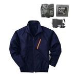 空調服 ポリエステル製長袖ブルゾン P-500BN 【カラー:ネイビー サイズ L】 リチウムバッテリーセット