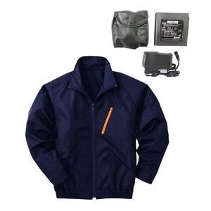 空調服 ポリエステル製長袖ブルゾン P-500BN 【カラー:ネイビー サイズ XL】 リチウムバッテリーセット - 拡大画像