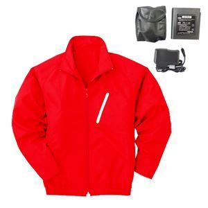 空調服 ポリエステル製長袖ブルゾン P-500BN 【カラー:レッド(赤) サイズ:L】 リチウムバッテリーセット