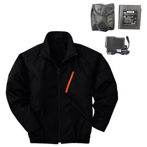 空調服 ポリエステル製長袖ブルゾン P-500BN 【カラー:ブラック サイズXL】 リチウムバッテリーセット
