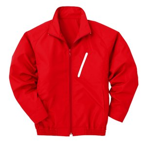 空調服 ポリエステル製長袖ブルゾン P-500BN 【カラー:レッド(赤) サイズ:L】 電池ボックスセット