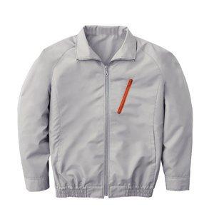 空調服 ポリエステル製長袖ブルゾン P-500BN 【カラー:シルバー サイズ:LL】 電池ボックスセット