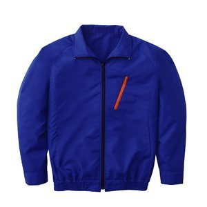 空調服 ポリエステル製長袖ブルゾン P-500BN 【カラー:ブルー サイズ:M】電池ボックスセット