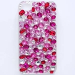 iphone4&4S デコケース ハンドメイド レッド&ピンクストーン