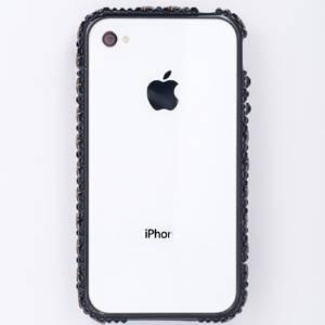iphone4&4S デコケース ハンドメイド スタッズ ブラックスワロフスキー - 拡大画像
