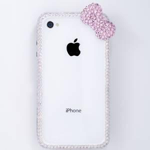 iphone4&4S デコケース ハンドメイド リボン ホワイト スワロフスキー - 拡大画像