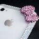 iphone4&4S デコケース ハンドメイド リボン ホワイト スワロフスキー - 縮小画像3
