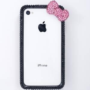 iphone4&4S デコケース ハンドメイド リボン ブラック スワロフスキー - 拡大画像