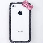 iphone4&4S デコケース ハンドメイド リボン ブラック スワロフスキー