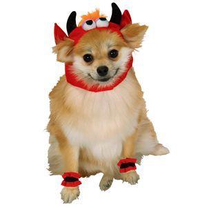 RUBIE'S(ルービーズ) PET(ペット用コスプレ) ペットコスプレ Headpiece & 4 Paw Cuffs Devil(ヘッドピース & 4 パーティー カフス デビル) Sサイズ - 拡大画像