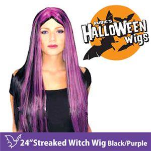 """【コスプレ】 RUBIE'S (ルービーズ) 51161 24"""" Streaked Witch Wig - Black/Purple(ウィッグ) - 拡大画像"""