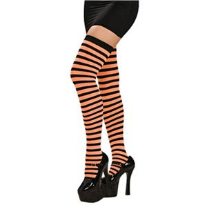 RUBIE'S (ルービーズ) 8544 Orange/Black Striped Thigh Highs - 拡大画像