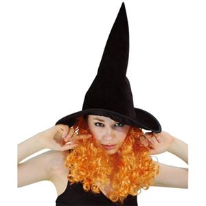 RUBIE'S (ルービーズ) 802694 Witch Hat with Orange Curly Hair - 拡大画像