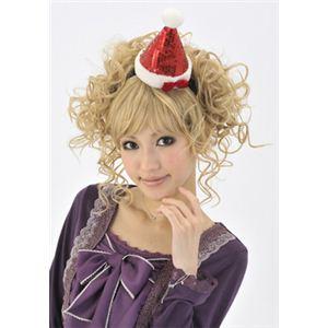 【クリスマスコスプレ】キラキラサンタ帽子カチューシャ - 拡大画像