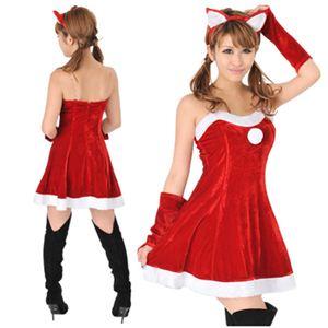 【クリスマスコスプレ】Short-p503A レディースサンタ・ショート503(赤)・猫耳付き - 拡大画像