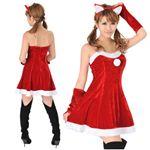 【クリスマスコスプレ】Short-p503A レディースサンタ・ショート503(赤)・猫耳付き