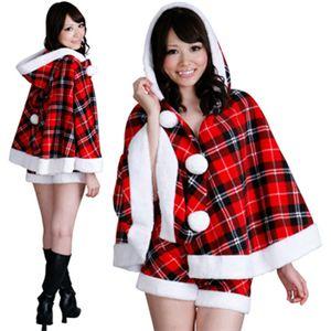 【クリスマスコスプレ 衣装】レディースサンタ ショート ポンチョサンタ チェック赤 - 拡大画像