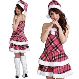 【クリスマスコスプレ】Short-p501F レディースサンタ・ショート ピンクチェック柄 - 拡大画像