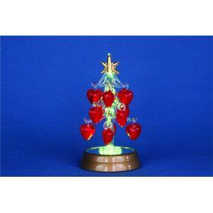 【クリスマス】LEDグラスツリー ハートオーナメントレッド 12cm 15521-MR861 - 拡大画像