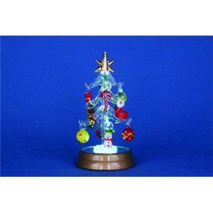 【クリスマス】LEDグラスツリー ファミリーオーナメント 12cm 15523-MR863 - 拡大画像