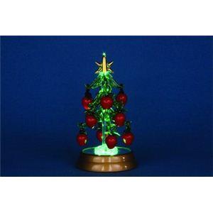 【クリスマス】LEDグラスツリー アップルオーナメント レッド 12cm 15524-MR864 - 拡大画像