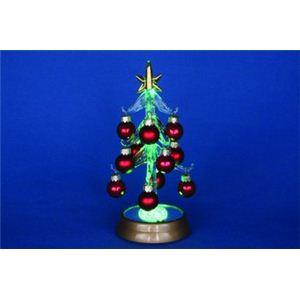 【クリスマス】LEDグラスツリー ボールオーナメントレッド 16cm 15527-MR867 - 拡大画像