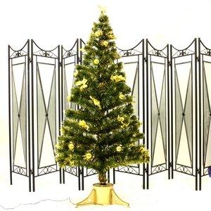 【コスプレ】 90cm光ファイバーツリー(クリスマスツリー 金色装飾/金色葉) T403-90 - 拡大画像
