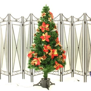 【クリスマス】180cm光ファイバーツリー(クリスマスツリー ポインセチア/赤・金) T401-180 - 拡大画像
