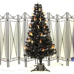 【クリスマス】150cmブラック光ファイバーツリー(クリスマスツリー/LEDランタン) T601-150 - 拡大画像