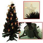 【クリスマス】180cm ファイバーブラッククリスマスツリー(LEDランタン) T601-180