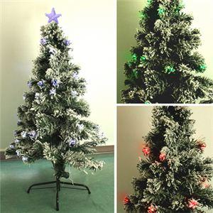 【クリスマス】120cm LEDファイバースノークリスマスツリー (コントローラ付) T682-120 - 拡大画像