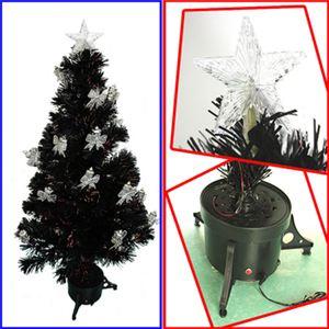 【クリスマス】120cm LEDファイバーブラックツリー(リボン付きランタン/シルバー) T513-120
