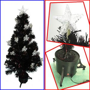 【クリスマス】150cm LEDファイバーブラッククリスマスツリー(リボン付きランタン/シルバー) T513-150 - 拡大画像