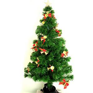 【クリスマス】150cm ファイバークリスマスツリー (リボン/ベル) T03-150 - 拡大画像