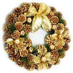 【クリスマス】40cm パインコーンリース ゴールド HL-H4001