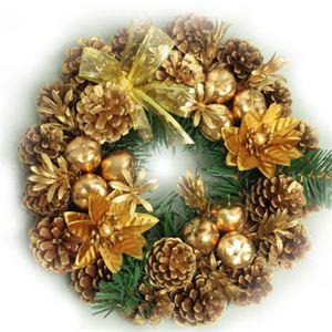 【クリスマス】27cm パインコーンリース ゴールド HL-H2754 - 拡大画像