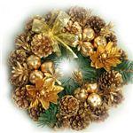 【クリスマス】27cm パインコーンリース ゴールド HL-H2754
