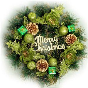 【クリスマス】40cm パインニードルリース グリーン HL8118-40 - 拡大画像