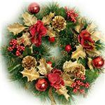 【クリスマス】30cm パインニードルリース ゴールド/レッド HL8143