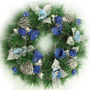 【クリスマス】35cm パインニードルリース シルバー/ブルー HL8169 - 拡大画像